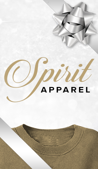 Holiday theme background with picture of a shirt and ribbon with bow. Spirit Apparel. Click to shop.
