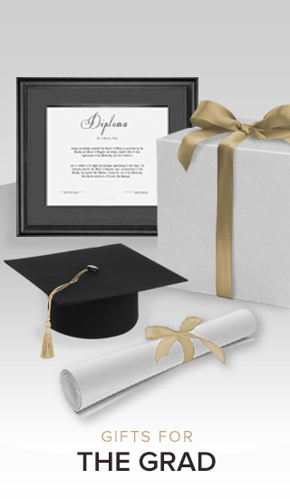 Picture of diploma frame, gift box, graduation hat with tassel and scroll. Click to shop gifts for the grad.